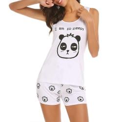 Damtyp avslappnad pyjamas set, söta sommar korta ärmar