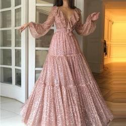 Elegant Women Sexy Sequins Princess Dress Evening gold M