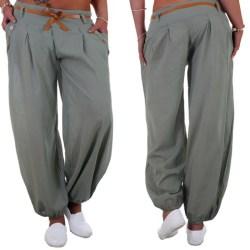 Enfärgade byxor för kvinnor, avslappnade eleganta byxor ljusgrön L