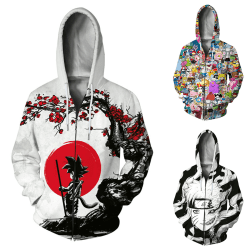 European and American jacket anime print zipper hooded sweater White Red XL