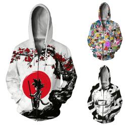 Europeisk och amerikansk jacka med tröja med dragkedja med anime White Red 2XL