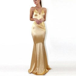 European and American new dress sexy deep V solid color dress Golden S