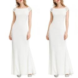 European and American round neck short sleeve slim long dress White M