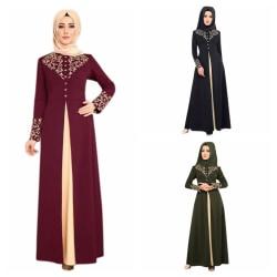 Fake 2 Pieces Women Abaya Muslim Turkish armygreen L