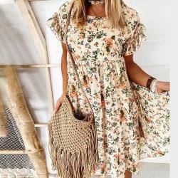 Kvinnors lösa blommönster kortärmade volanger miniklänningar apricot S