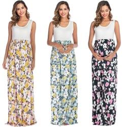Mode kvinnor brutna blommor sommar moderskapskläder