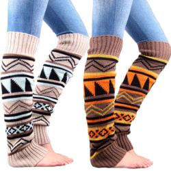Flickor långa ben bohemiska stickade varma stövlar höga strumpor Burn