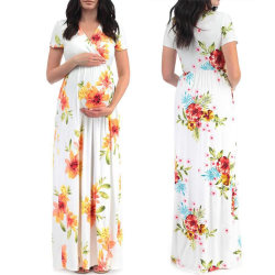 Flower Printed Maternity Dresses Pregnant Ball blue XL