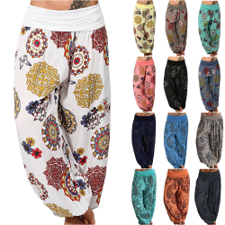 Harem Hippie Pants Womens Yoga Floral Boho Bottoms Traousers White M