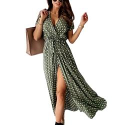 Kvinnor Wrap V-ringad prickig lång klänning Sommarstrand sundress Green S