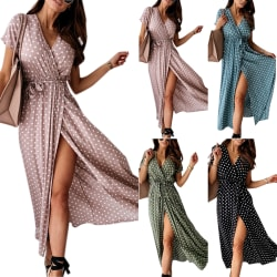 High Split Kvinnor Polka Dot V-neck Dress Black XL