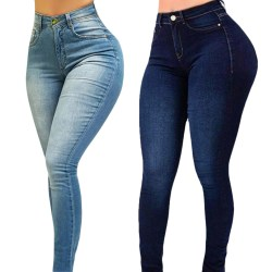 High waist ladies slim jeans, casual and fashionable jeans dark blue XL