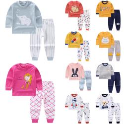Höst och vinter söta tryckta barnpyjamas, pyjamas vinterkläder Kanin 60