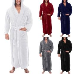 Höst vinter flanell nattklänning för män och kvinnor, morgonrock Grå 3XL