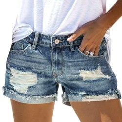 Women's Casual Denim Shorts Ripped Street Denim Shorts Blue M