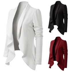 Kavaj med tappad omslag Slim Fit Blazer Casual Work Jacket röd S