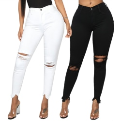 Knee Ripped Jeans for women with high waists, skinny jeans white M