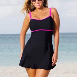Kvinna kjol-stil fet dam baddräkt baddräkt med hög hals Svart 2XL