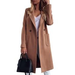 Kvinnans eleganta ullrock med dubbla fickor med hack kaki L