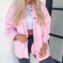 Kvinnjacka med lång ärm för vinter för att hålla dig varm rosa S