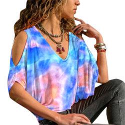 Kvinnor Ladies Tie-dye Print Off Shoulder Shirts White L