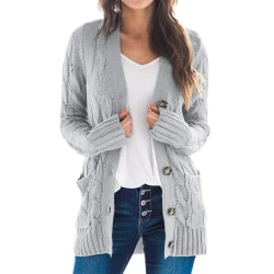 Kvinnor långärmad öppen front kofta tröja enfärgad knappjacka grå M