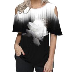 Kvinnor Ruffle Sleeve Halter Neck Office Blouse Rose Flower S