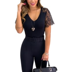 Kvinnor Sexy Lace Sleeve V Blouse Black M