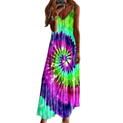 Kvinnor V Neck Tie-dye Print Sleevless Dress Green 3XL