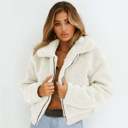 Kvinnors beskuren jacka Notch Revers Faux Fur Fluffy Coat vit S