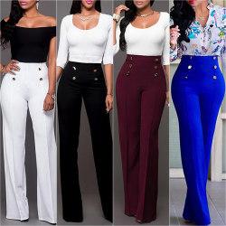 Kvinnors breda, raka dubbelbyxor med avslappnad byxa i hög midja svart XL