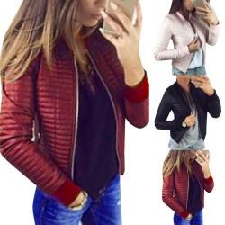 Kvinnors enfärgad dragkedja kappa vinter mode jacka kappa rödvin L