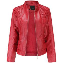 Kvinnors faux läder dragkedja kort PU motorcykel rider jacka röd L