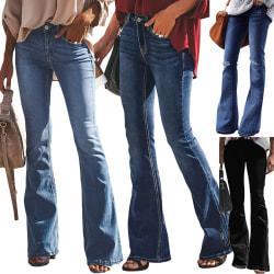 Kvinnors flared jeans elastisk midja nederkant retro byxor medium blå S