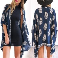 Kvinnors modetryck Kimono tofs Casual kofta lös täcka upp blå S