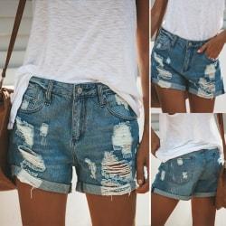Kvinnors sommar jeansshorts Frayed Raw Hem Jeans shorts blå 2XL