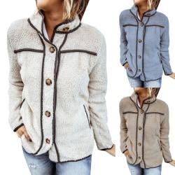 Kvinnors vinter fluffiga långärmad knapp Casual jacka utkläder kamel S