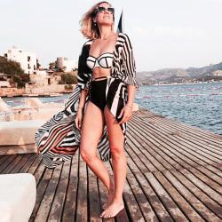 Kvinnors zebra-tryck lös blus kofta bikini baddräkt täcka upp Svartvitt En storlek