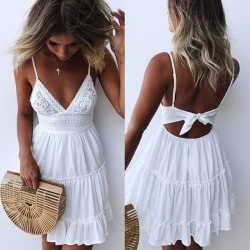 Lace Strapy Kvinnor Tummy Stomach Backless Dress White L