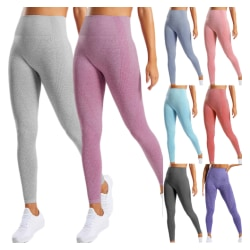 Ladies Morandi Color Yoga Pants Running Sports Fitness Pants mörkgrå S