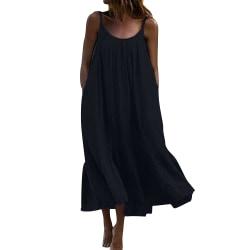 Kvinnors sexiga dans reses Ruffle Sling Dress Enfärgad sundress black 2XL