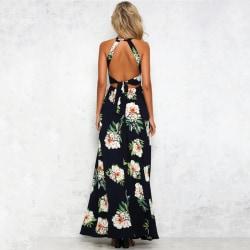 Ladies Summer Floral Print Short Sleeve Split Beach Long Dress black S