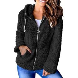 Ladies Zipper Plush Jacket Ladies Teddy Bear Hooded Jacket svart S