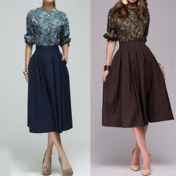Lady Elegant Printed Patchwork Midi Dress Sleeve blue S