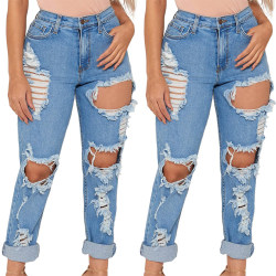 Lady Teens Ripped Boyfriend Skinny Casual Solid Denim Pants light blue S