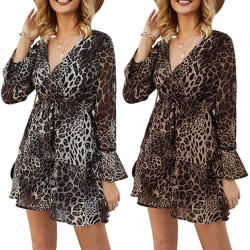 Lady V-neck Waist Band Sexy Leopard Dress Brown L