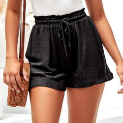 Linen Personality Wide-leg Elastic Lace-up Shorts brown  M