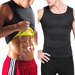 Mäns väst viktminskning tränings bastu väst svett kostym svart XL