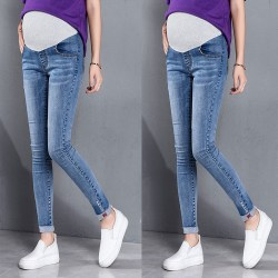 Maternity Pregnant Women Jeans Pant Stretchy Denim Belly Legging Blue 2XL