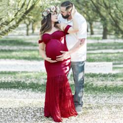Moderskap kortärmad damklänning Maxifotografiklänning